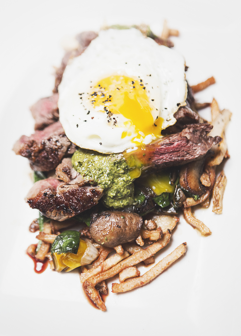 Steak and eggs.