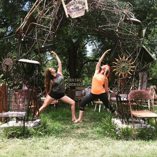 @karmayogadenton gets their om on in the chairy orchard.