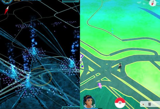On the left, Ingress. On the right, Pokémon Go.