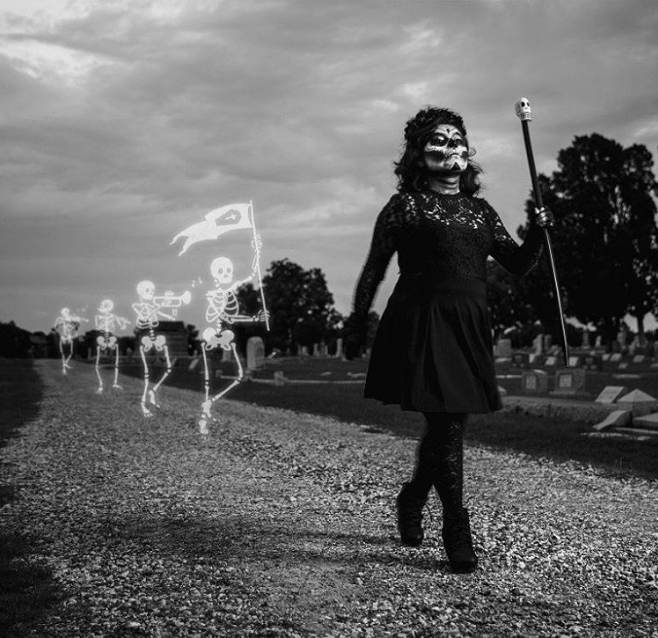 Here's a shot from @thevisionbeautiful at Denton's Ioof Cemetary bringing out the dead for Cristina's Dia de los Muertos-inspired photoshoot.
