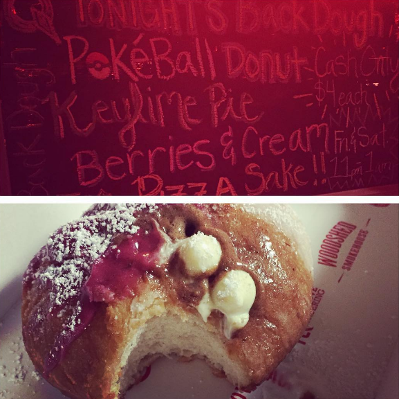 "Queenie's had pokeball donuts at this weekend's ""backdough."" Here's a shot of one from @asmanyasgiven. You can grab a delicious donut yourself at the backdoor of Queenie's every Friday and Saturday night starting at 11pm."