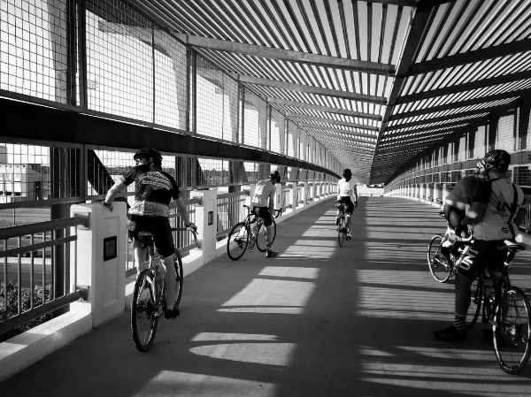 @scoof and co taking a break on the pedestrian bridge during a recent ride.