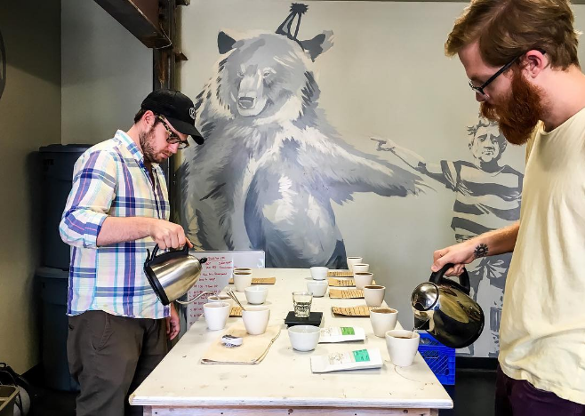 Cupping Wednesdays at West Oak Coffee Bar. Photo by @DentonCoffee.