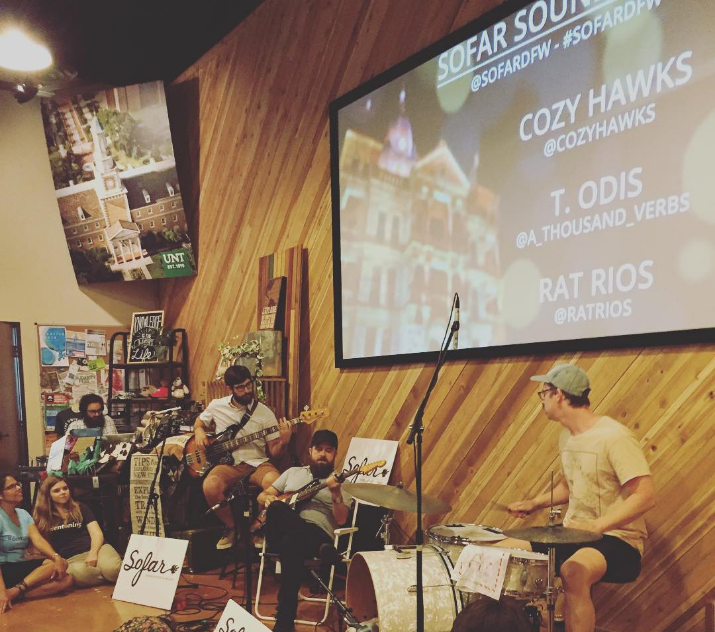 @mkernan with a photo of @cozyhawks at this weekend's Sofar Sounds show at the Discover Denton Welcome Center.