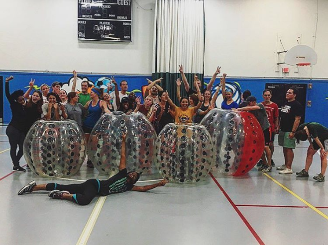 @earthmeetsman celebrated turning 30 with some bubble ball soccer.