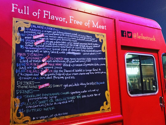 @hella_novella got this shot of the menu on the side of Denton's newest food truck, @leilastruck. This truck serves vegetarian middle eastern fusion and we can't wait to give it a try. Their grand opening is August 12th.