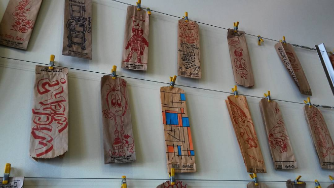 Which Wich's wall of bag art. Photo by @allgoodautorepair.