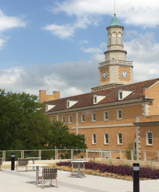 The view of the UNT Administration Building from the new Union Roof Top Garden Patio. Photo by @dentonlandscape .
