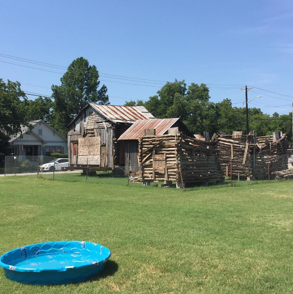 The Denton County Historical Park with its newest edition: tiny plastic pool. Photo by @marvel_and_moon.