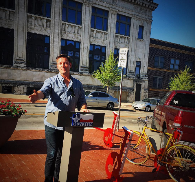 "@glenfarris at the ribbon cutting for the new ""lil d"" bike racks on the Denton square. Farris knows plenty about ""lil d's"" so he was definitely the man for the job."