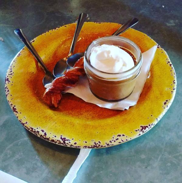 @laurenludica and salted caramel panna cotta at Tex Tapas.