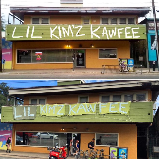 "Last week, someone took @dentoncoffee's idea to rename Big Mike's to ""Lil Kim'z Kawfee"" into reality and it was kinda the best thing."