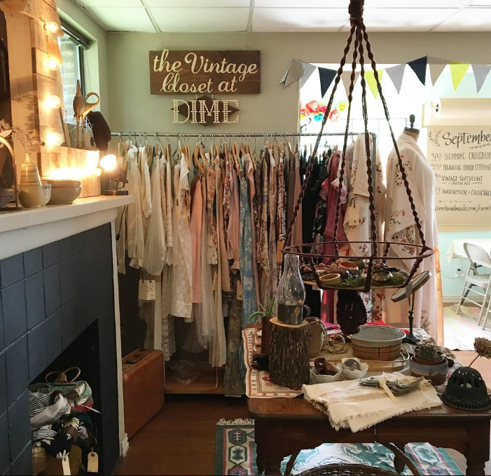 @dimehandmade has some of the best vintage finds in Denton. Check out their vintage closet next time you stop by.