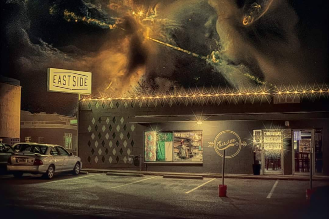 "@lezapics calls this photo featuring East Side with a composite of some space stuff, ""The East Side of Eternity."""