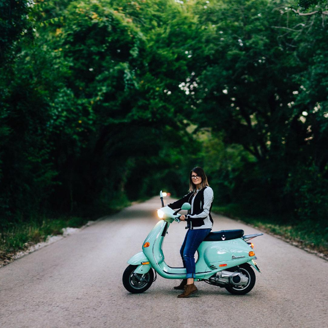 "Another photo featuring  @emilyfightscrime and her Vespa from @bradholt. We mostly just wanna know where this great ""tree tunnel"" is, though. Will you tell us, Brad?"