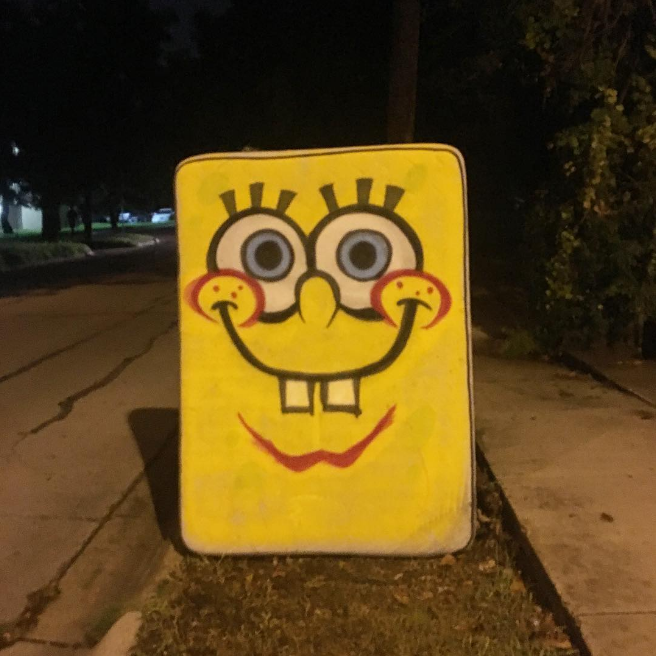 Denton has really stepped up its used mattress game lately. Here's a Spogebob one from @roybetter. Spongebob sure is creepy at night.