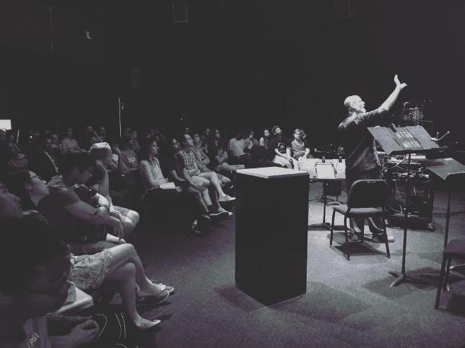 Dr. Joe Klein teaching at UNT last week. Photo by @fussbudgets.
