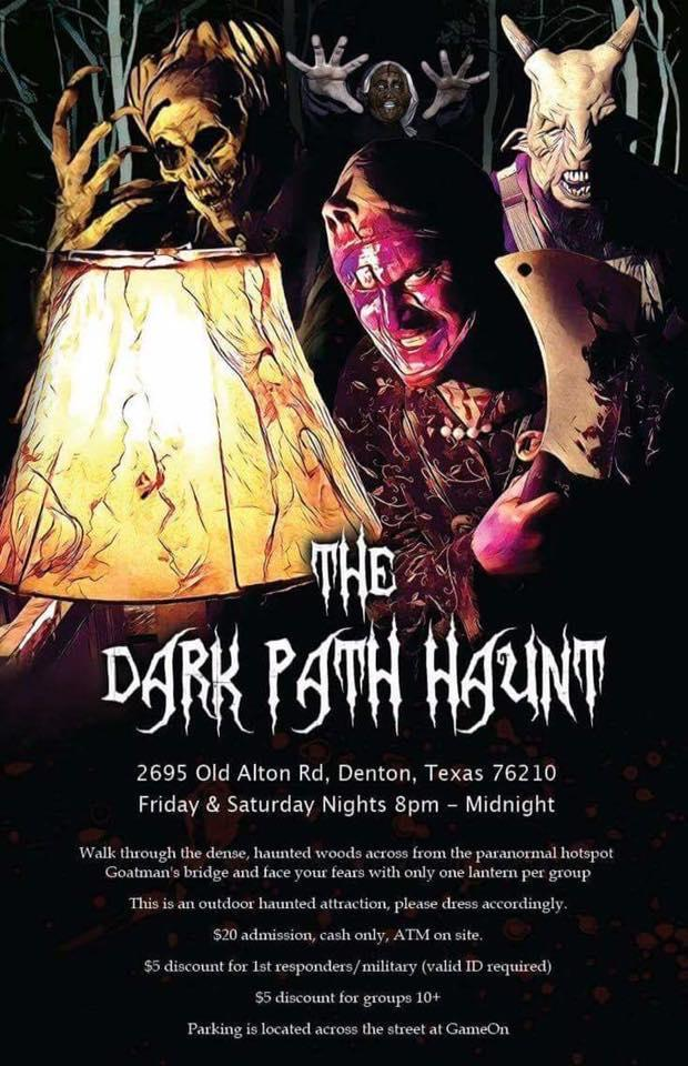 The Dark Path Haunt explores the legendary haunted woods around the Old Alton Bridge. Photo courtesy of  their Facebook page .