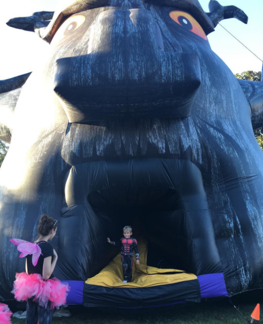 @murpheyland with a photo what appears to be a helmet-less Iron Man inside a giant mouth at TWU's Boo at the U.