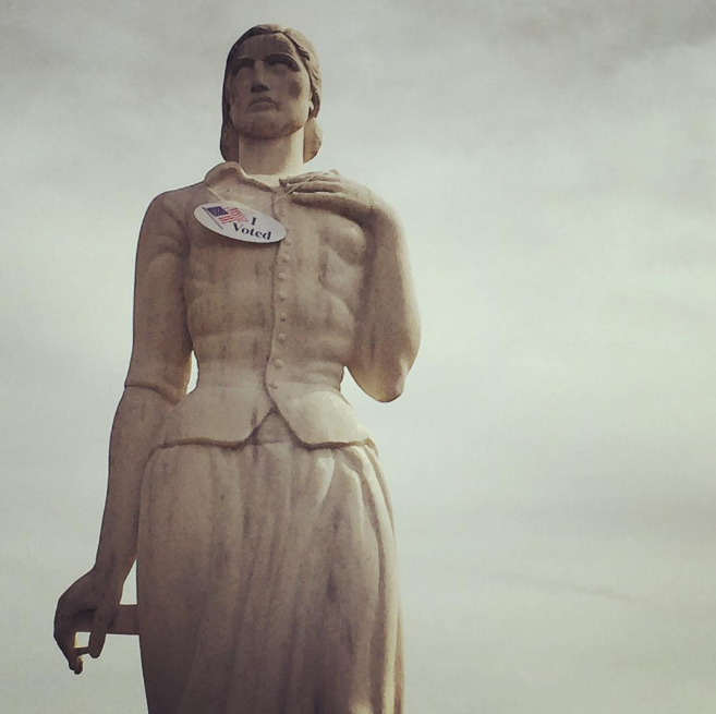 TWU's pioneer woman votes often and early. Have you cast your vote yet? Photo by @aereis22.