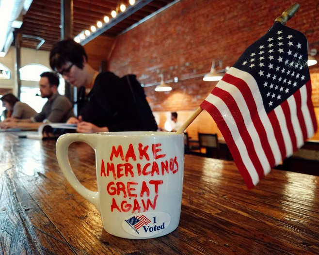 @joshpiers with a patriotic mug with a pun on it.