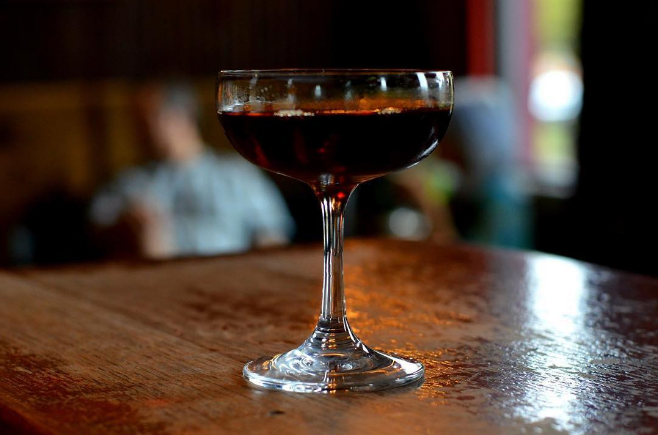 "Have y'all tried @paschall_bar's new cocktail dubbed ""enzo"" yet? It features Fernet, Cardamaro, Averna, Campari, and Grand Marnier."