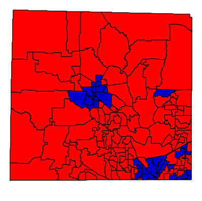 A view of the Denton County election results. This map represents the various precincts votes for president.