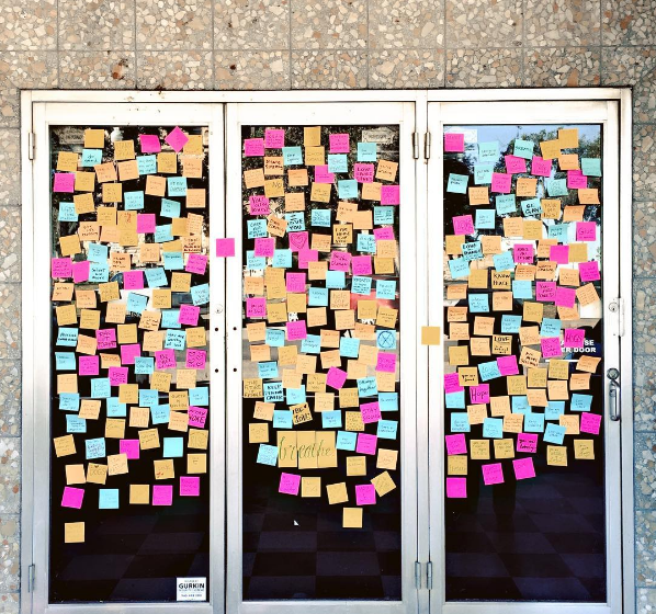 Denton has been sharing thoughts of hope and more on this wall downtown with sticky notes after the election. Here's a photo from @nikareally.