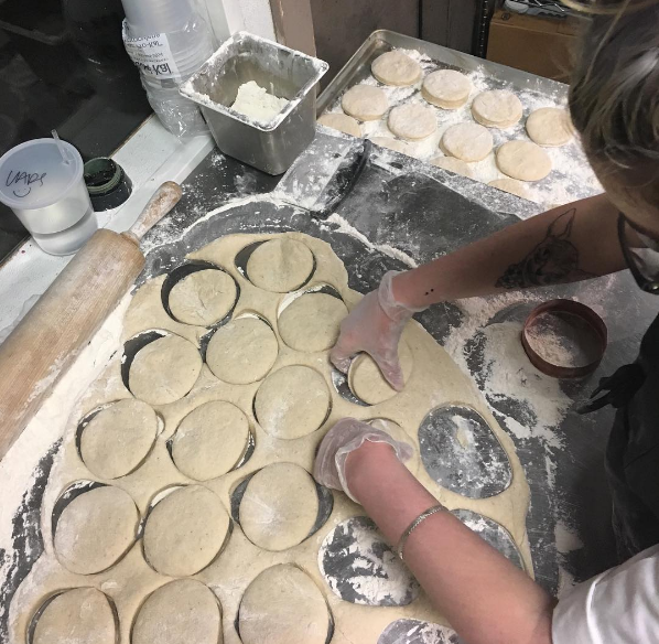 "@negliacooks and company prepping the doughnuts for ""backdough"" last week."