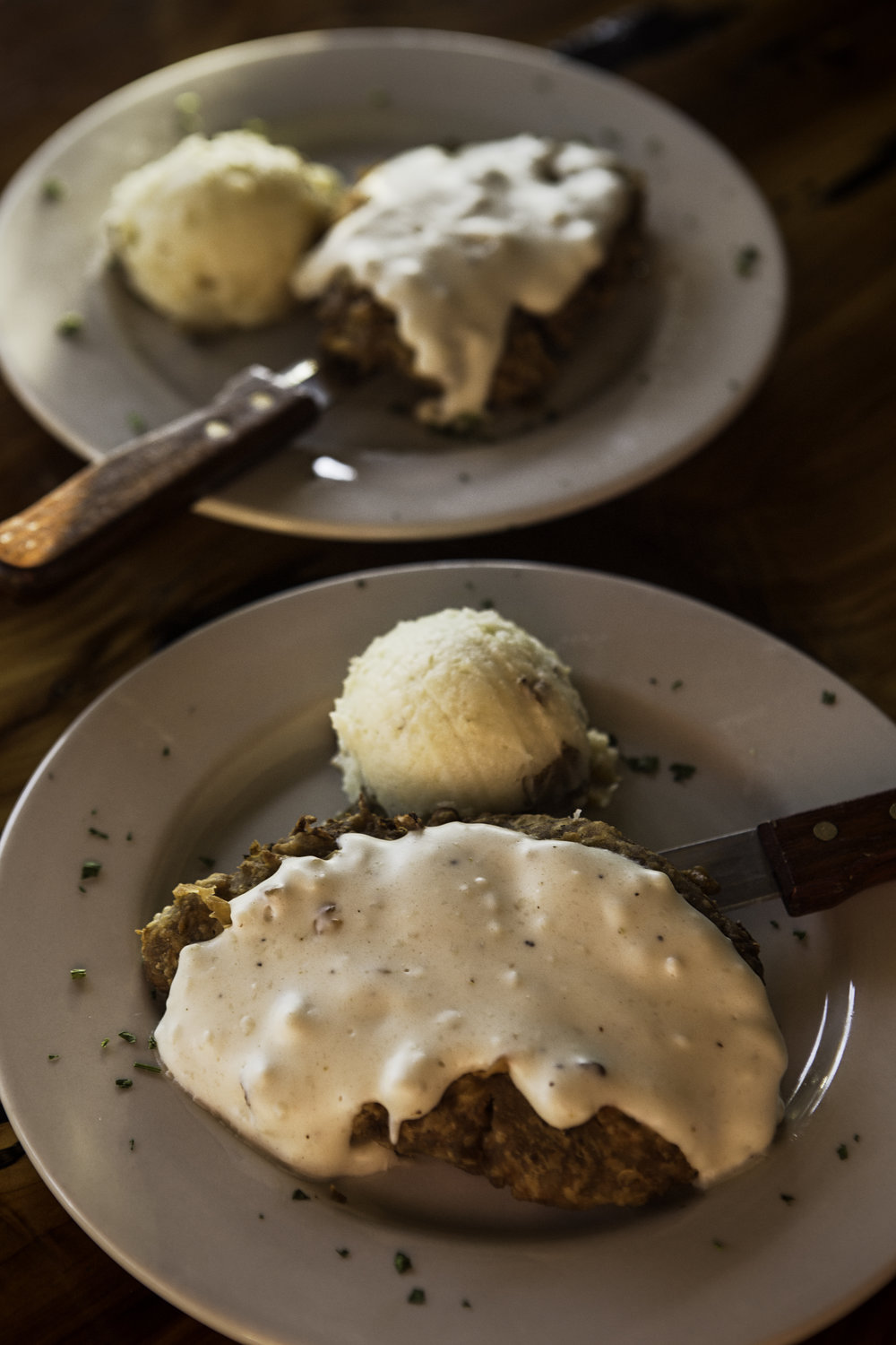 The chicken fried steak and the veggie chicken fried steak.