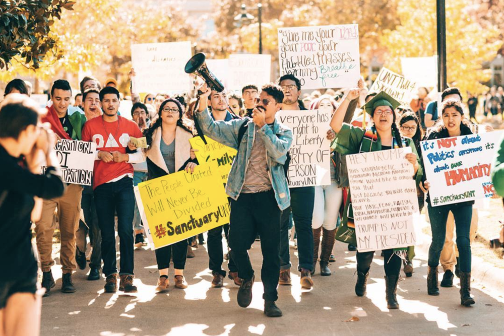 Last Thursday, about 200 college students staged a walkout, calling for UNT and TWU to become sanctuary campuses, protecting undocumented immigrants attending the university. You can read more about the event  here . Here's a photo of the event from @germantorrestx.