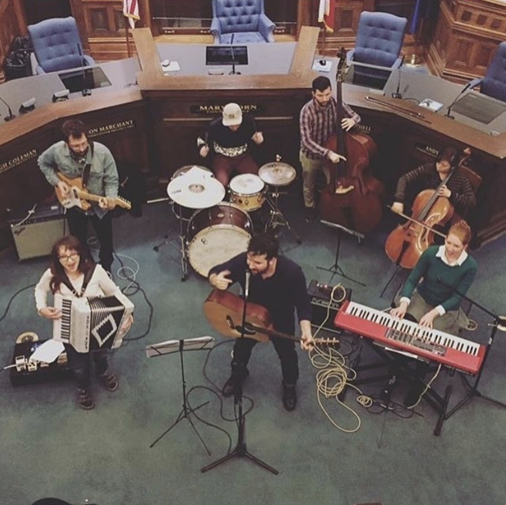 @the_loverlies playing inside the Denton County Courthouse during the tree lighting on Friday. Photo by wescrawford. Shared by @c3denton.