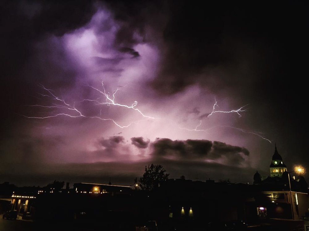 @sibelinof took this photo of lighting over downtown Denton last March.