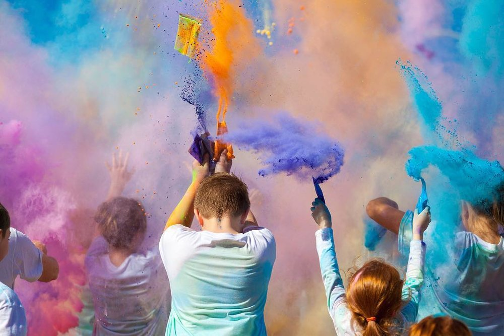@bradholt at a Color Run fundraiser earlier in the year for Calhoun MIddle School. Did your camera survive this okay, @Bradholt?