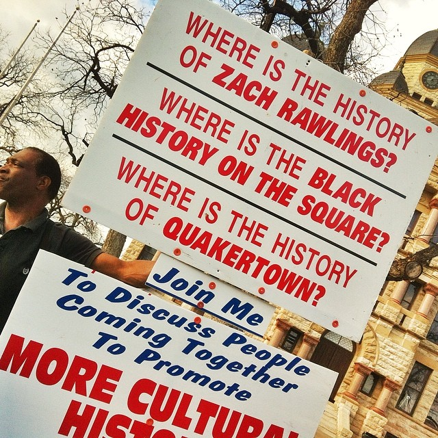 @dentonaut with a photo of a protest at the confederate monument on the square. Wanna know a little more about the history of the statue? Click  here .