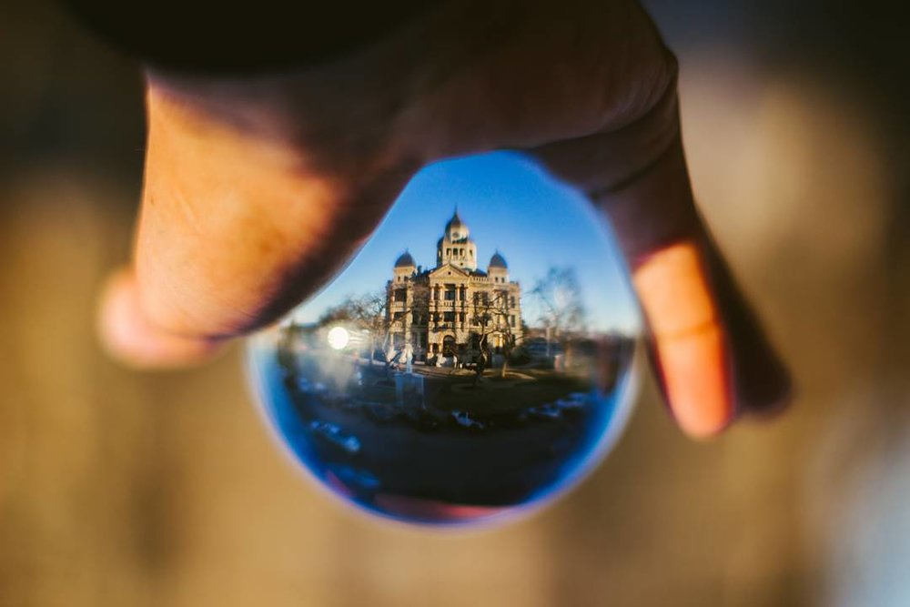 @orangefilmphoto captured the courthouse in a crystal ball.