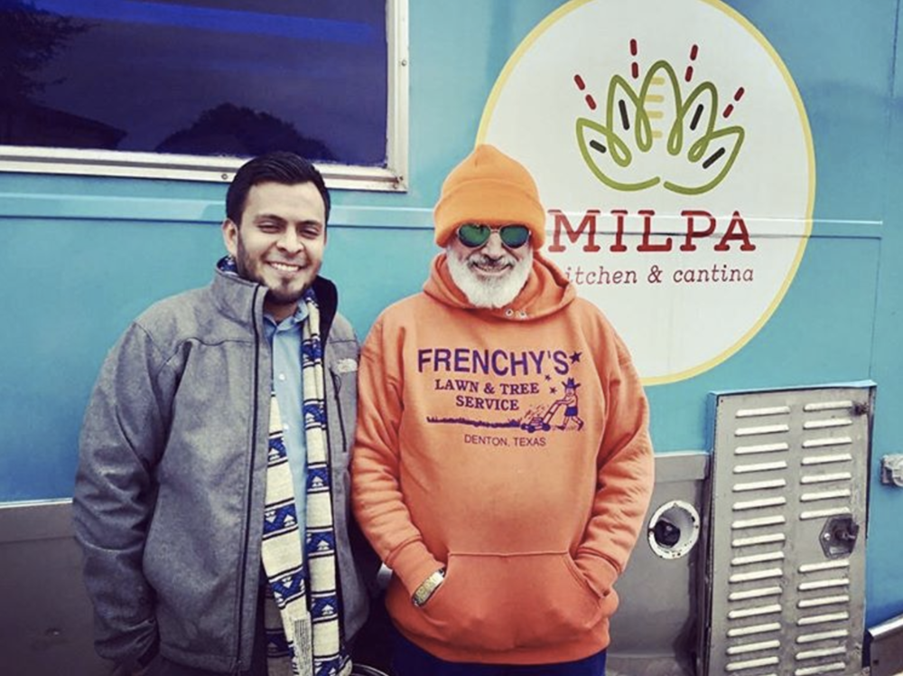 @milpa_denton and a very hip-looking Frenchy in front of their upcoming food truck.