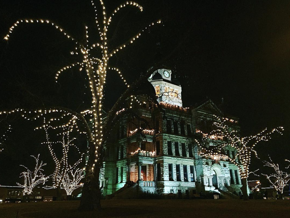 Christmas may be over, but we're still happy to look at lights on the courthouse. @sarahbethanys