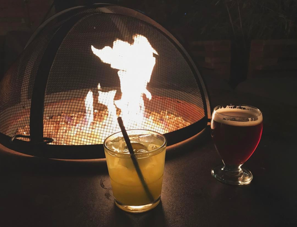 @mariahmine with some fireside drinks at Harvest House.