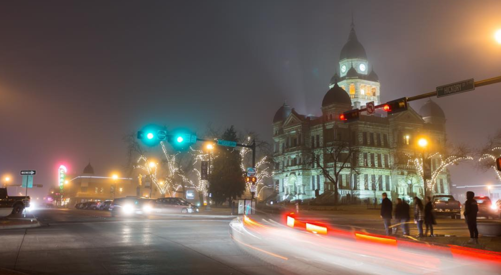 A foggy Denton square from @scoof.
