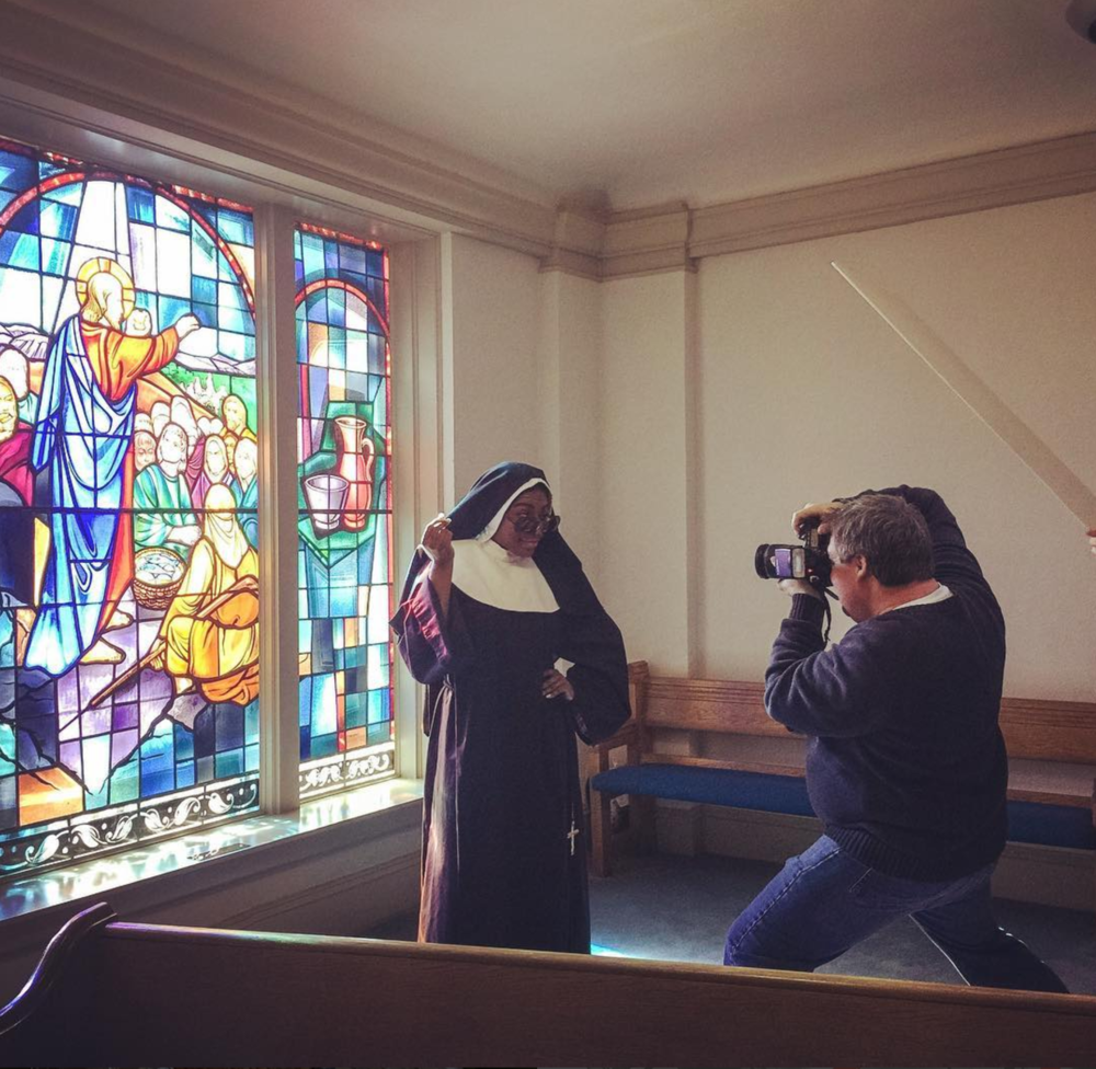 Behind the scenes of a promo photo shoot for @mtdshows upcoming Sister Act production.