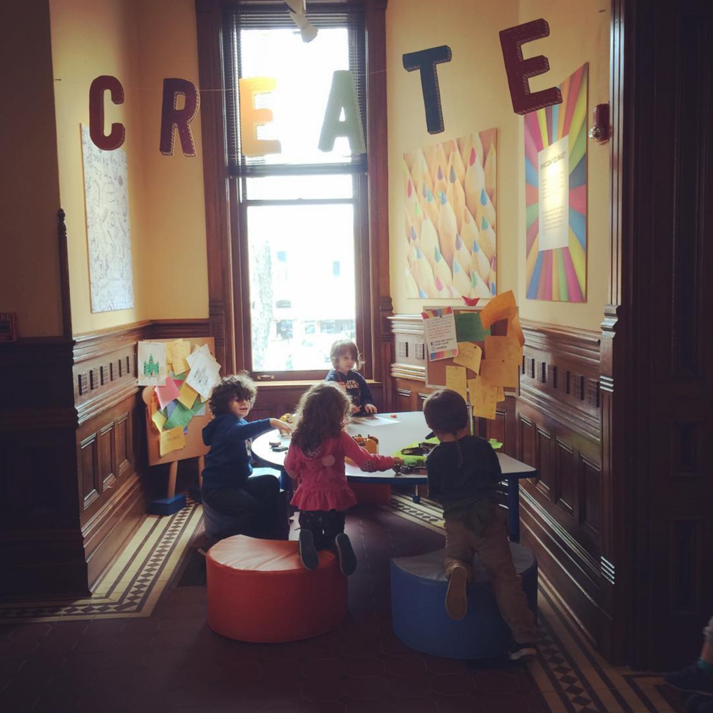 @kellyrien with a photo of some kiddos creating in the Courthouse.