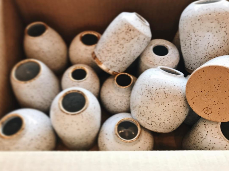 @ freckledpottery  with some new vases with gold accents that will soon be coming to a dime store near you (AKA The DIME Store).