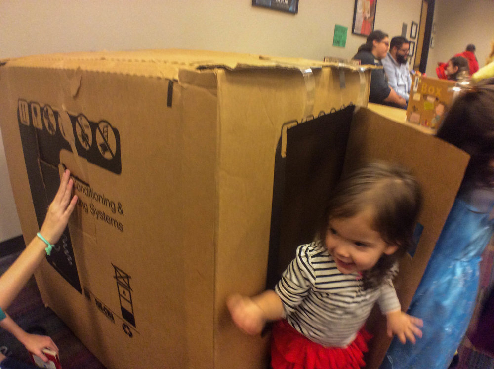 A cardboard box can be turned into a playhouse or a pretend car.