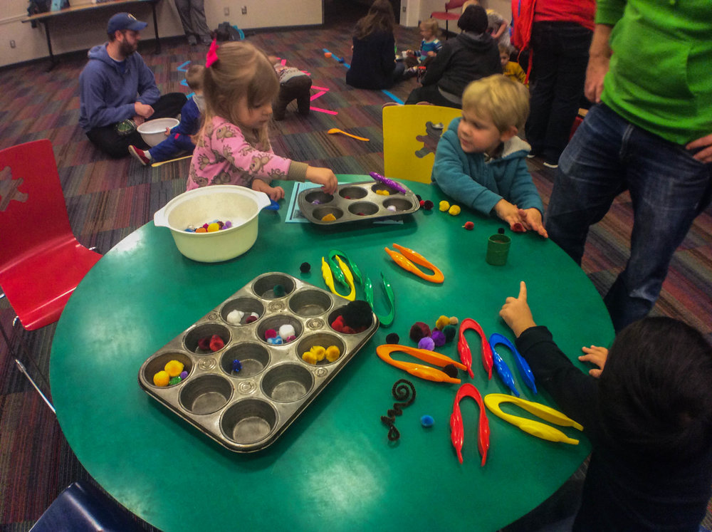 Children can learn to sort by shape, size , and color by using tongs and a muffin tin to sort small objects such as beads, pompoms, cotton balls, different pastas into a muffin tin.