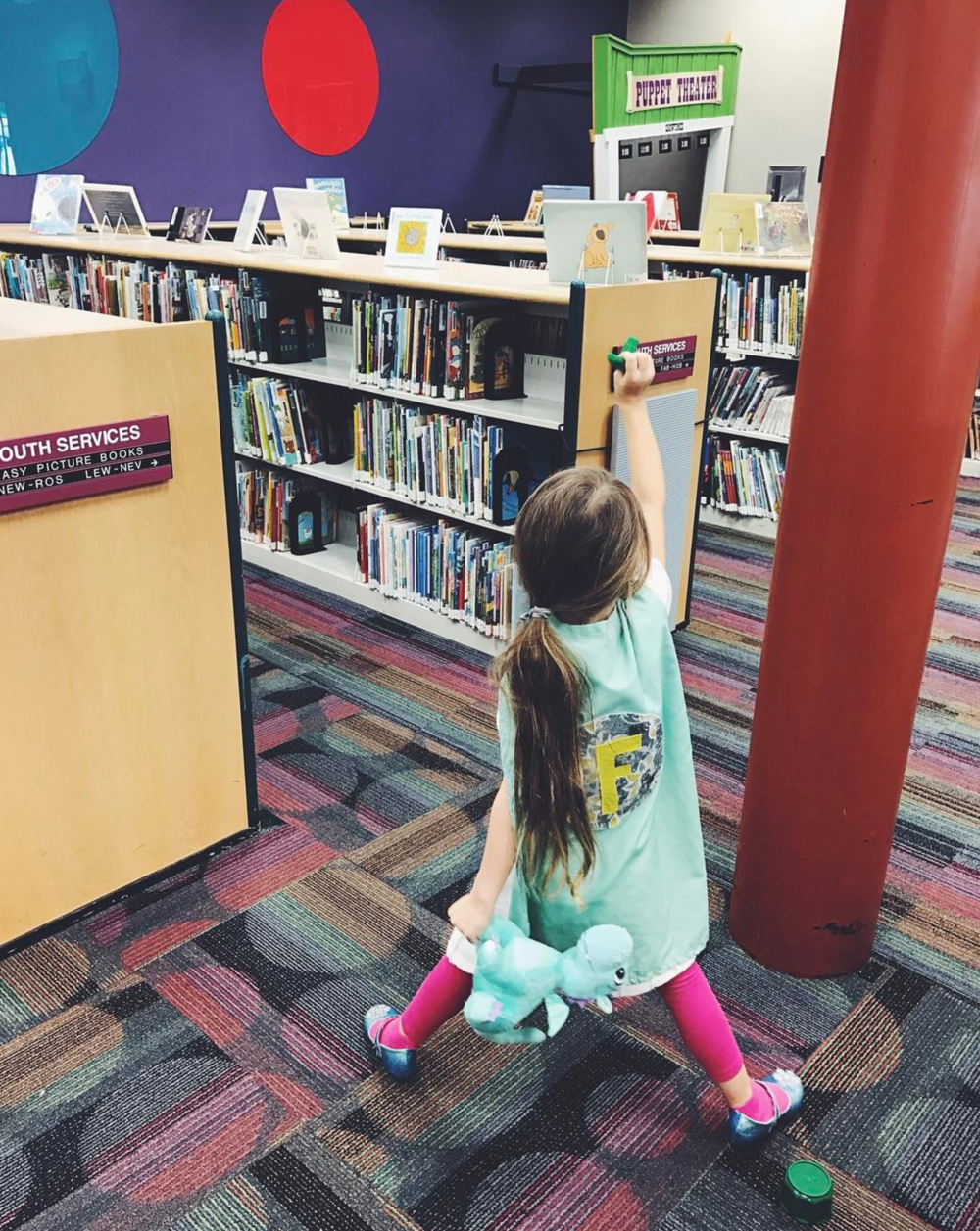 Slaying some Mo Willems books at the library with @haleyhomestead. Did they ever let the pigeon drive the bus?
