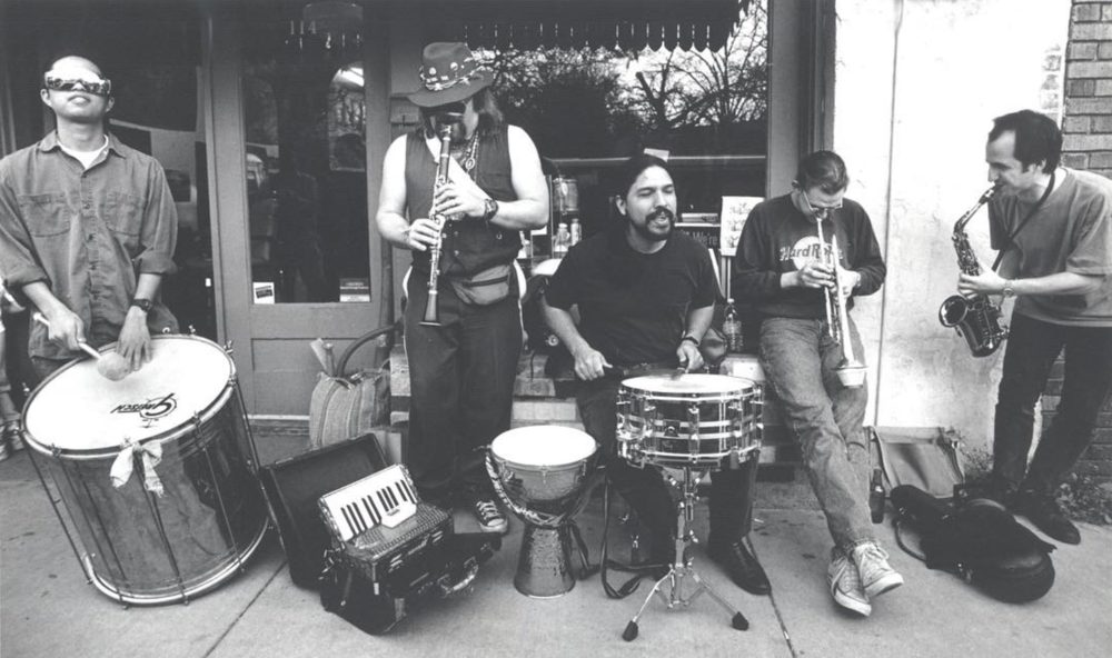 @chosmuseum recently shared this photo of the Fry Street Marci Gras Band playing on the sidewalk in Denton in 1994. We hope they share a photo like this every week!