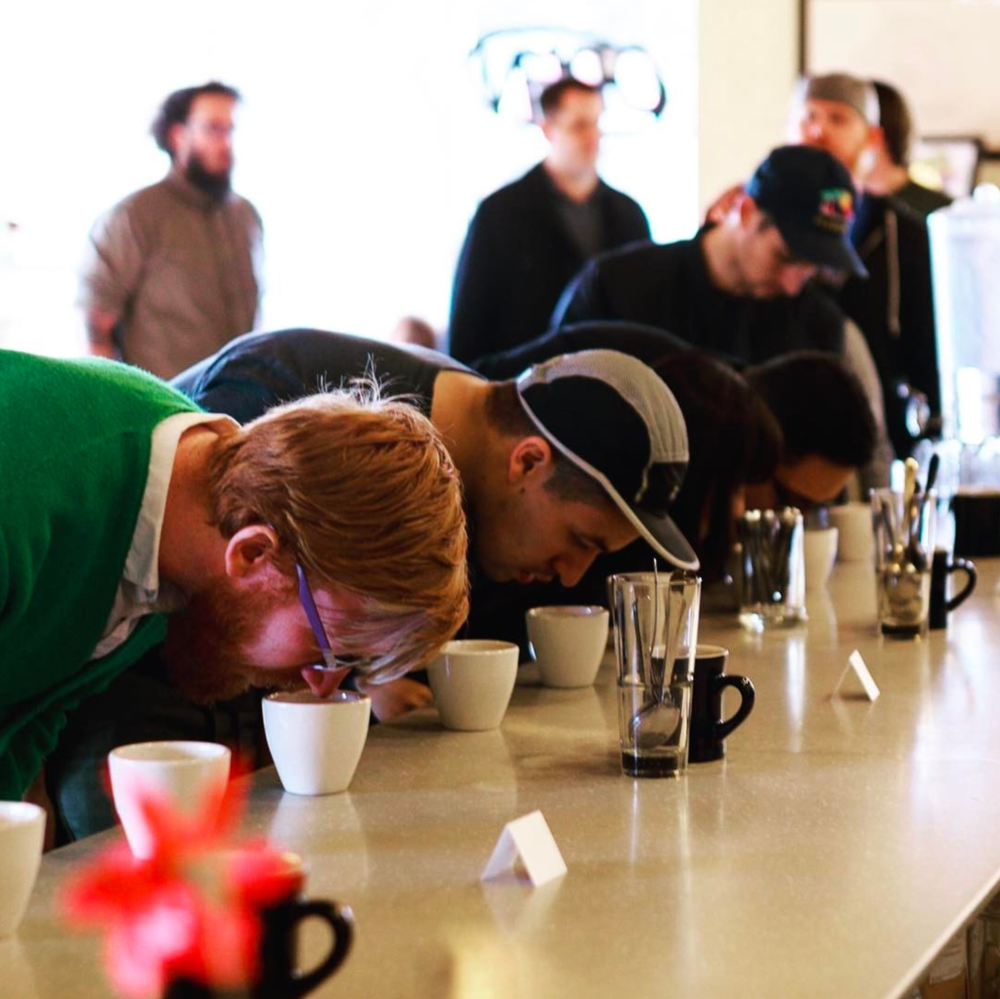"@bradholt with a shot of a recent coffee ""cupping"" at Shift."