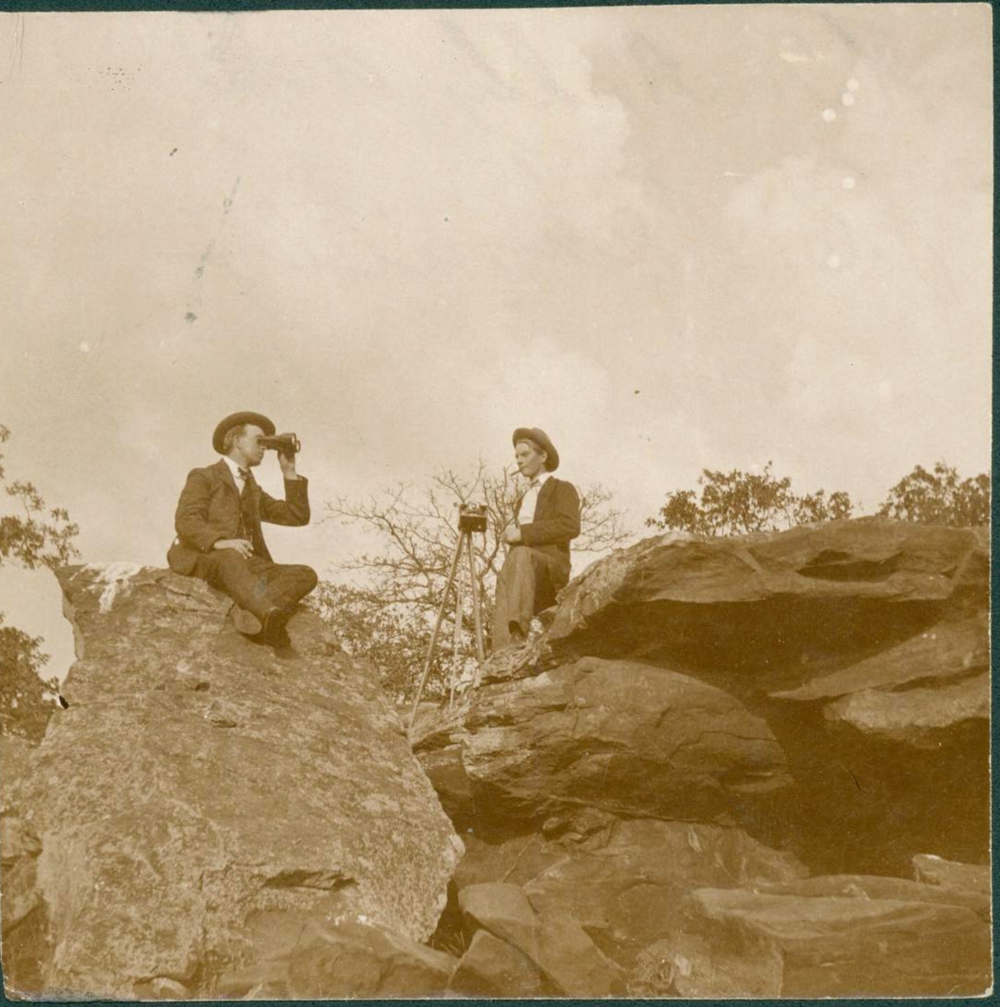 @chosmuseum continues to share some great photos from the history of Denton County. Here's a few folks surveying from atop Knob Hill.