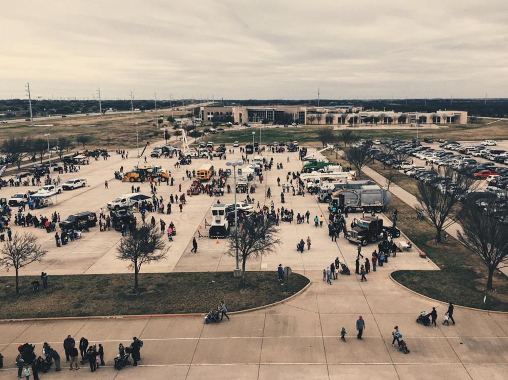 The view of Touch-A-Truck from up high on Saturday. Photo by @wedentondoit.
